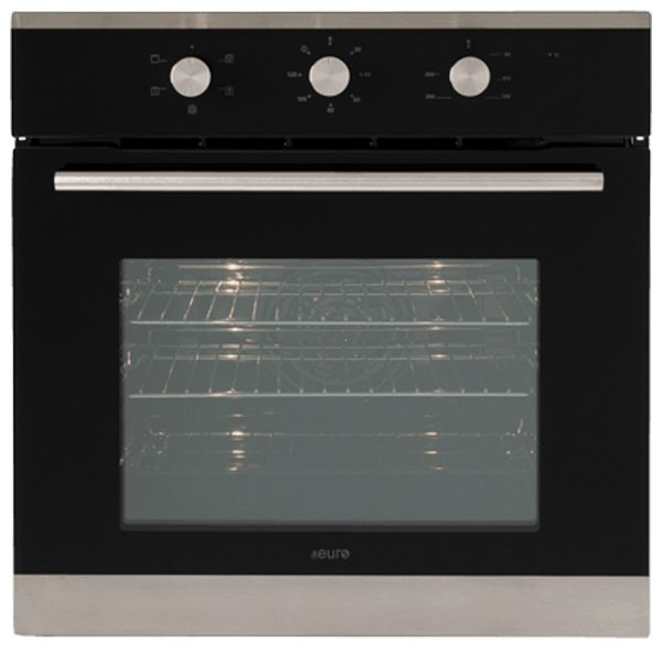 Euro EO604SX 60cm Wall Oven Black Glass/Stainless Steel